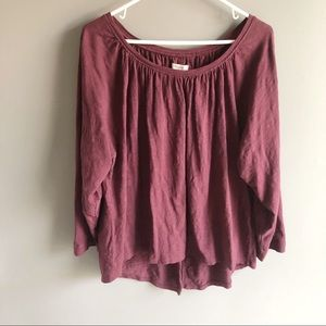 Madewell 100% Cotton Maroon Peasant Blouse